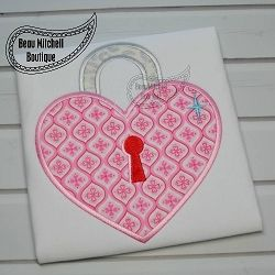 Heart Lock Applique - 4 Sizes! | Hearts | Machine Embroidery Designs | SWAKembroidery.com