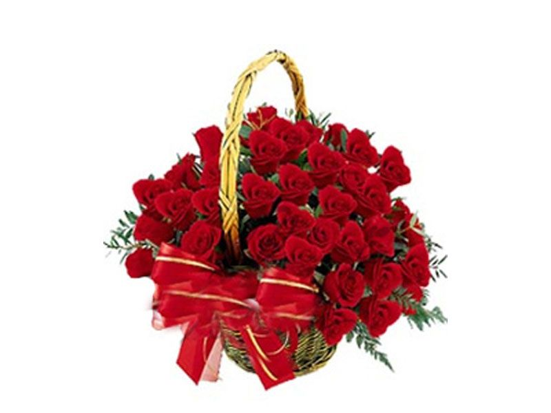 Round Basket Of 40 Red Roses To India Monginis Same Day Delivery Gifts Flowers Mothers Day Flowers