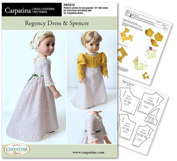 Regency Dress and Spencer Doll Clothes Pattern as von CARPATINA ...