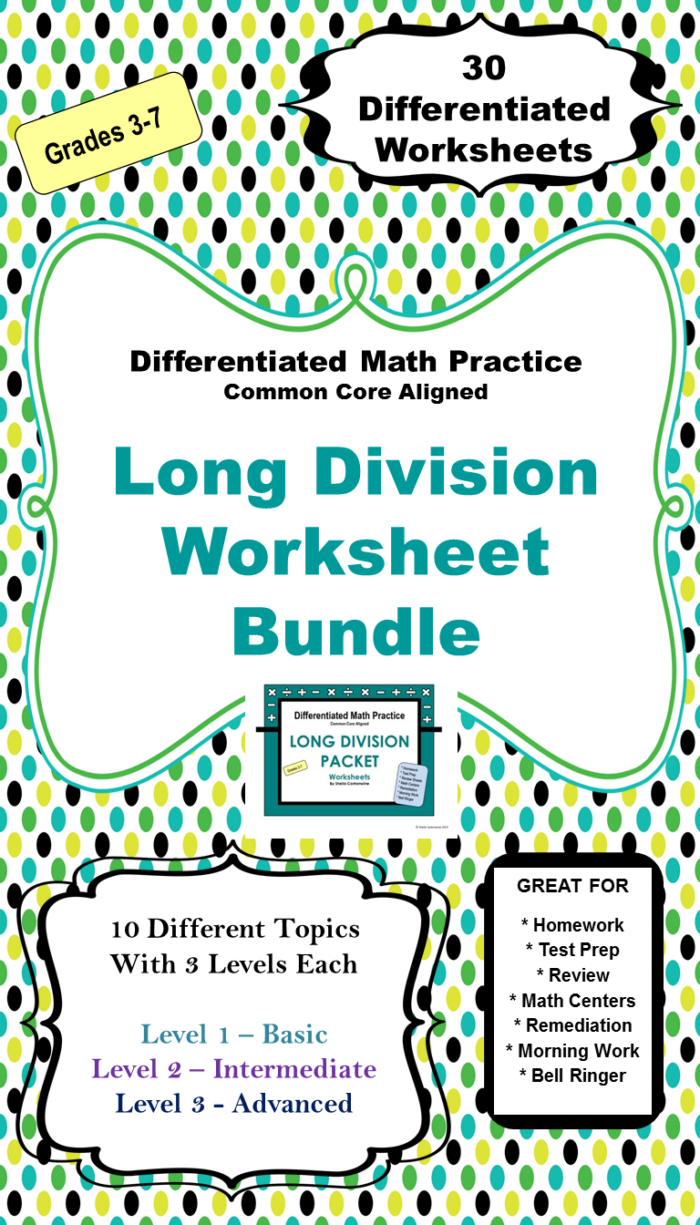 Long Division Worksheet BUNDLE - Differentiated with Detailed Answer ...