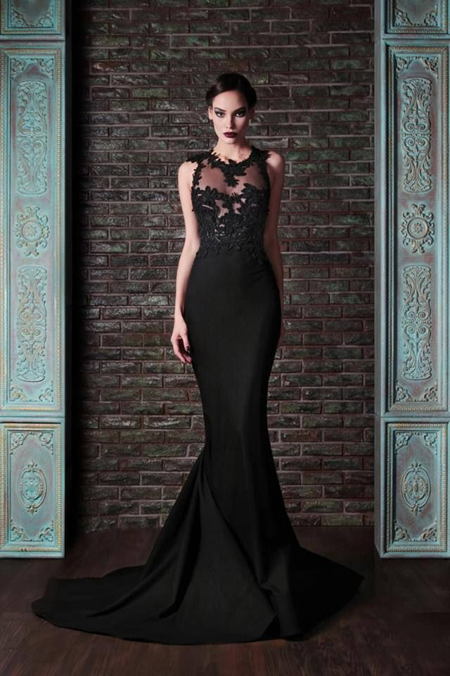 Rami Kadi 2014 couture - bold, black A-line wedding gown with lace detail on the bodice