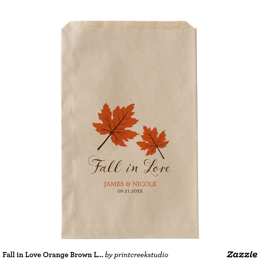 Fall in Love Orange Brown Leaves Wedding Favor Bag | Wedding favor ...