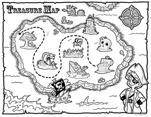 Treasure Map Pirate Party Favors 12 Count Coloring Sheets