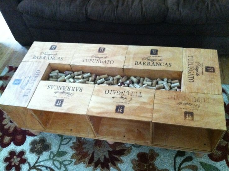wine crate coffee table w/ cork storage centerpiece! | wine crate