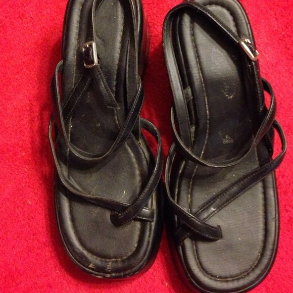 7766ad67d Lower East Side wedge sandals Black wedge sandals w small straps. Strap  fits between straps. Buckle near ankle. Lower East Side Shoes Wedges