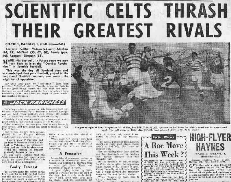 Celtic  Rangers  In October  Newspaper Report On The