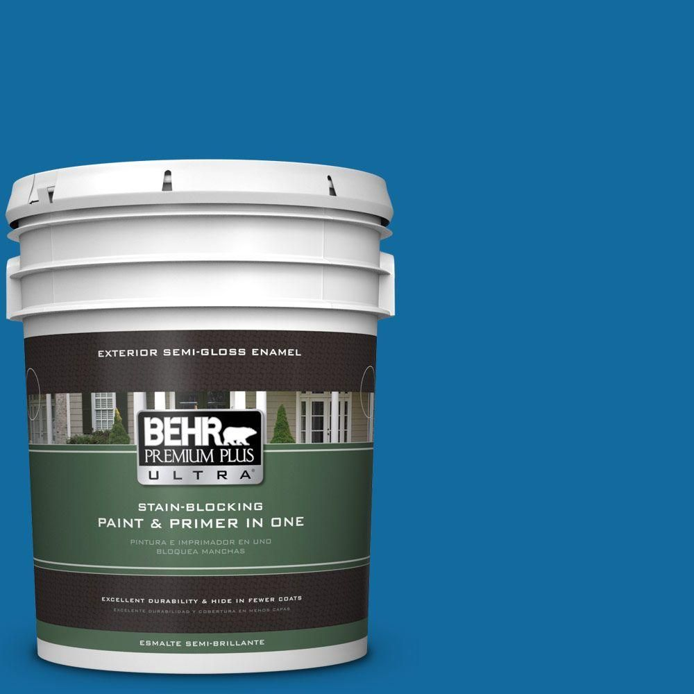 BEHR Premium Plus Ultra 5-gal. #P500-7 Cosmic Cobalt Semi-Gloss Enamel Exterior Paint