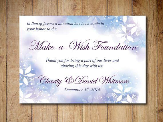 Wedding Favor Donation Card Template