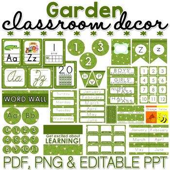 Garden Classroom Decor Pack EDITABLE is part of Butterfly garden Classroom - If you're in search for inspirational ideas to spruce up your elementary classroom  I think I can help you, and not break the bank in the process! This classy, modern, on a budget Garden Classroom Décor theme can be a quick and easy way to instantly transform any primary classroom with it's simple green color