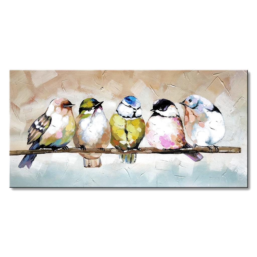 Art Handmade Bird Family Oil painting Animal Canvas Wall Art Modern Decor Artwork -   - #Animal #Art #artwork #bird #canvas #decor #Family #handmade #IndianPaintings #modern #oil #OilPaintings #painting #Paintings #Wall