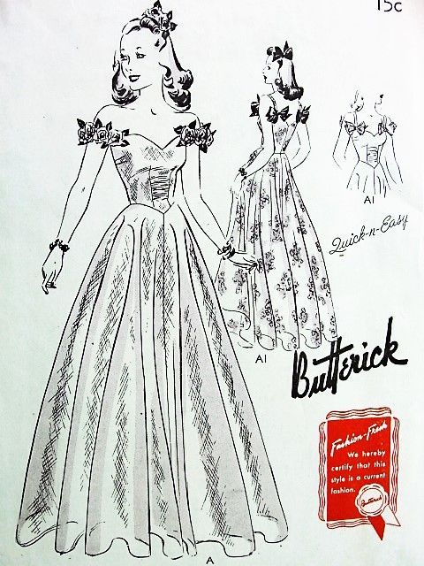 1940s BEAUTIFUL Evening Gown Dress Pattern Quick n EASY BUTTERICK 9376 Sweetheart Neckline Flattering Basque Bodice Bust 36 Vintage Sewing Pattern FACTORY FOLDED