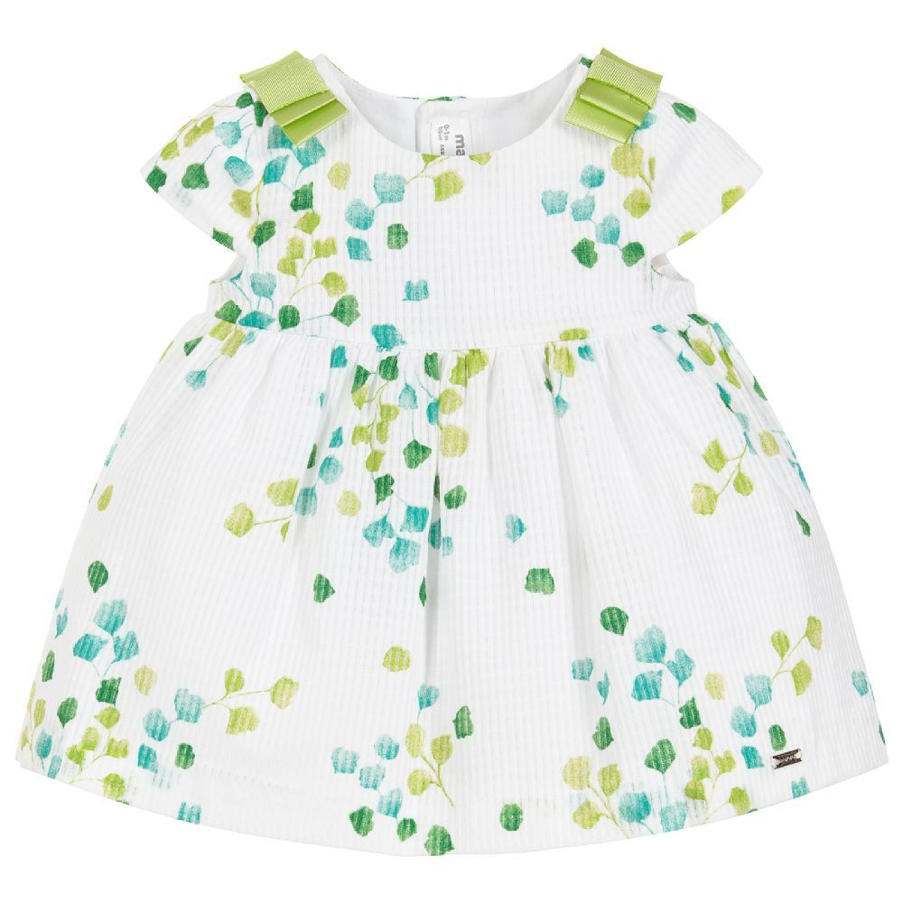 c5a3da3181d9 Baby girls white and green dress and knickers set from Mayoral Newborn.  Made in a soft