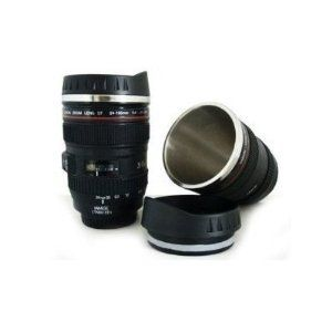 Camera lens travel mug! - 24-105mm Travel Coffee Mug / Cup / Thermos with Drinking Lid & Quality Stainless Steel Interior
