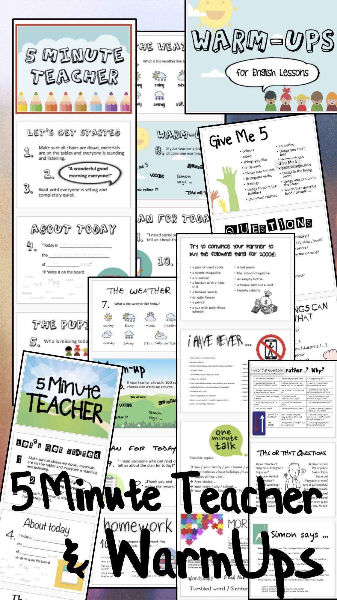 5 Minute Teacher Und Warm Ups Paket Angebot Englisch Lehreralltag