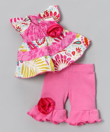 Take a look at this Pink Floral Sunburst Doll Outfit by AnnLoren on #zulily today!