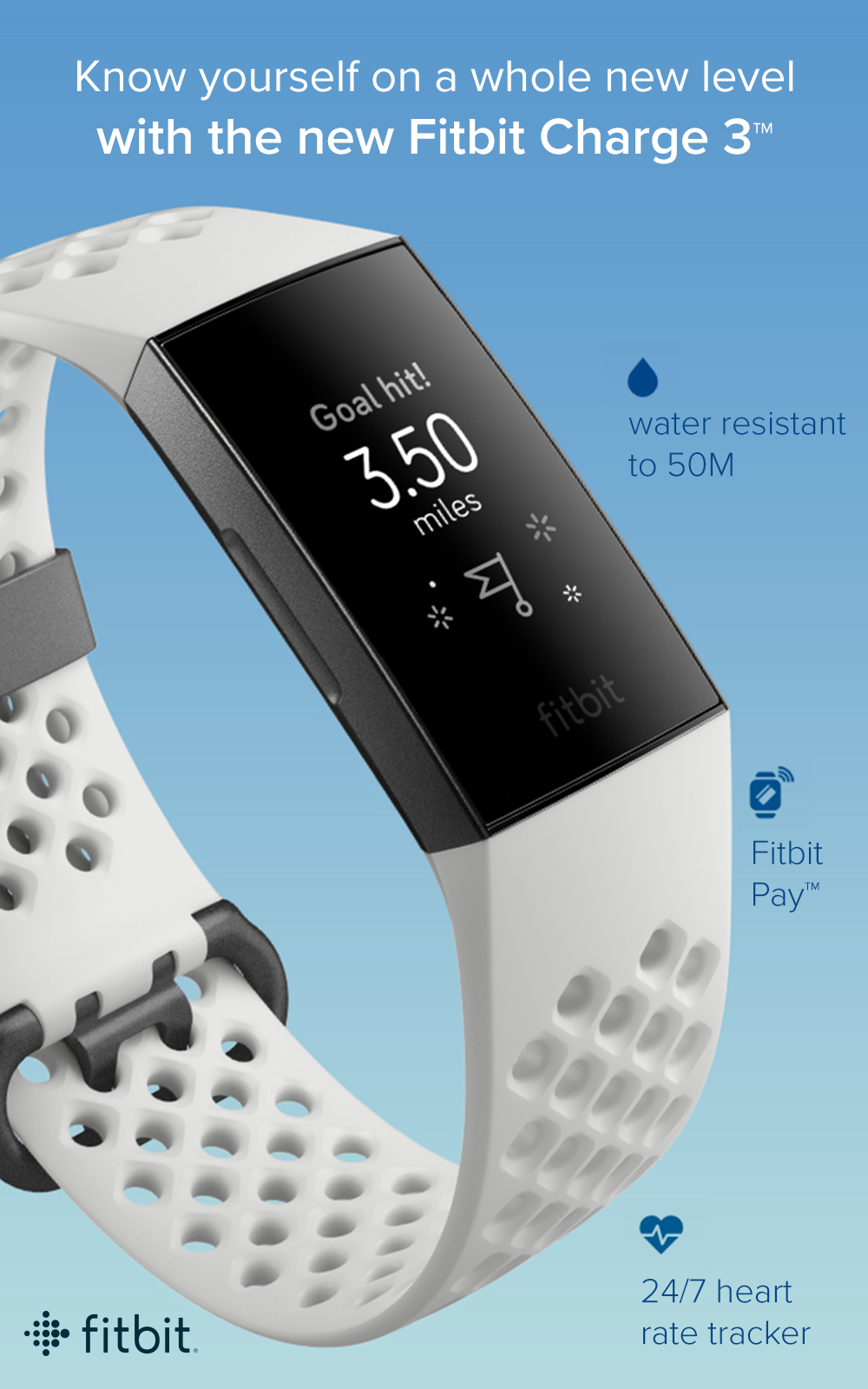The new Fitbit Charge 3 features 24/7 heart rate so you can track