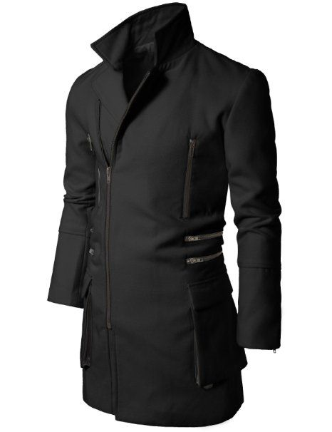 Amazon.com: Doublju Mens Casual Zipup Slim Coat: Clothing