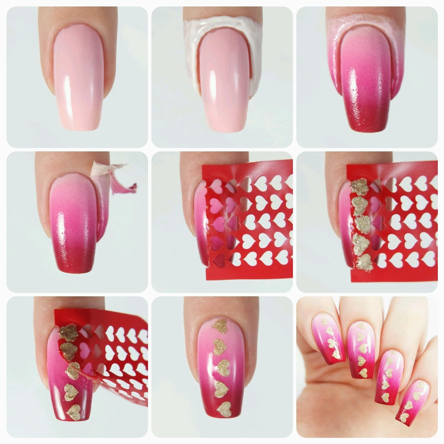 Create Lovely Nails With These Fun Heart Nail Stencils Patterns Go Every Season And Work Any Color Combinations You Paint Ombré On