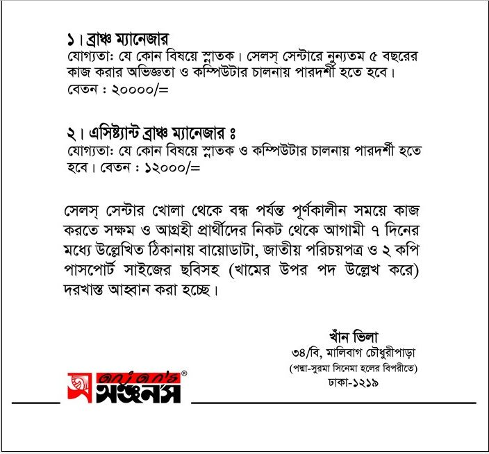 Anjanu0027s Branch Manager Job Circular VACANCY Job Circular - branch manager job description