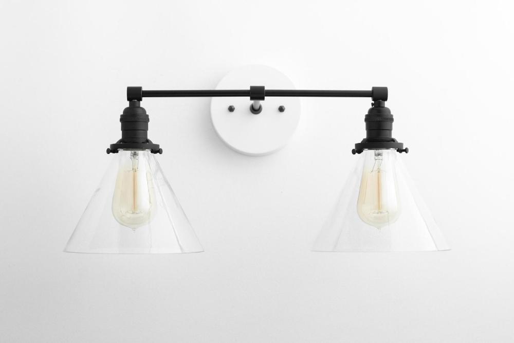 Modern Light Fixture Farmhouse Vanity Black White Light