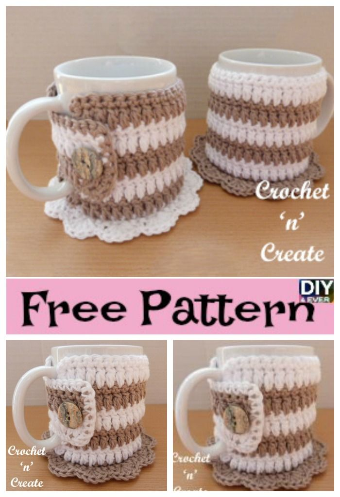 Crochet Mug Cozy Coaster Free Pattern Free Pattern Coasters And