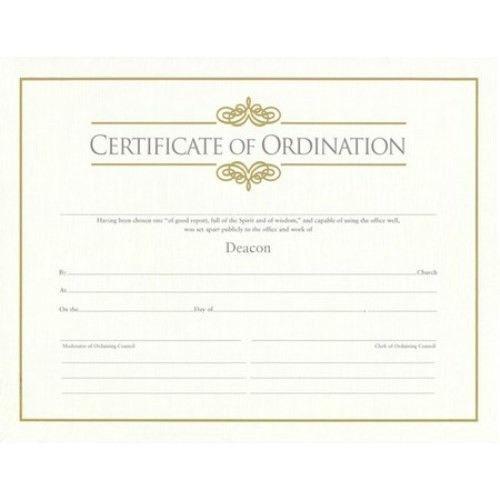 Certificates - Ordination for Deacon - Broadman Parchment paper - best of ordination certificate free