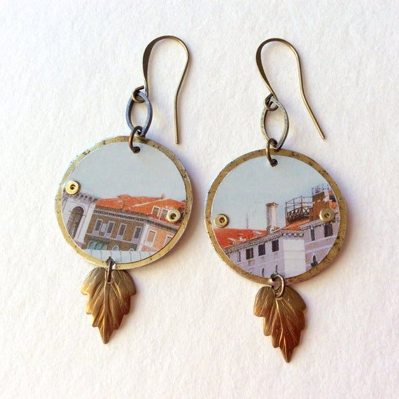 Photo of Upcycled Tin Disk Earrings, Venice, Italy Skyline Image, Lightweight Dangle