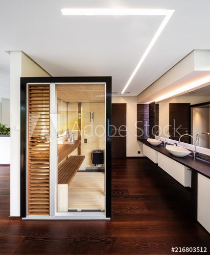 Photo of Glass and wood sauna in modern villa