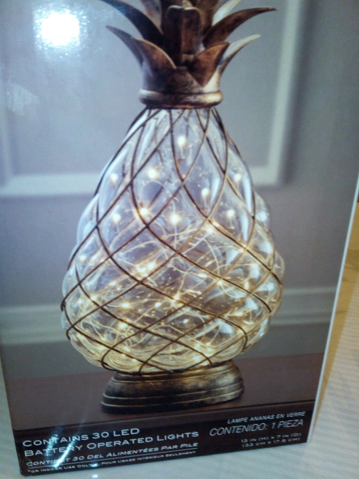 Glass Pineapple Table Lamp Brown Leaves With BuiltIn