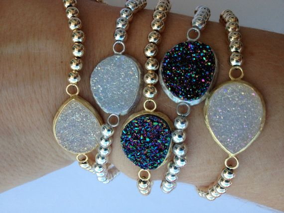 Multi Colored Druzy Bracelet with 14k gold by HannahAndPaige, $77.00