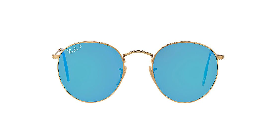 cc7ff857321 RAY-BAN Gold RB3447 50 ROUND METAL Blue polarized lenses 50mm ...