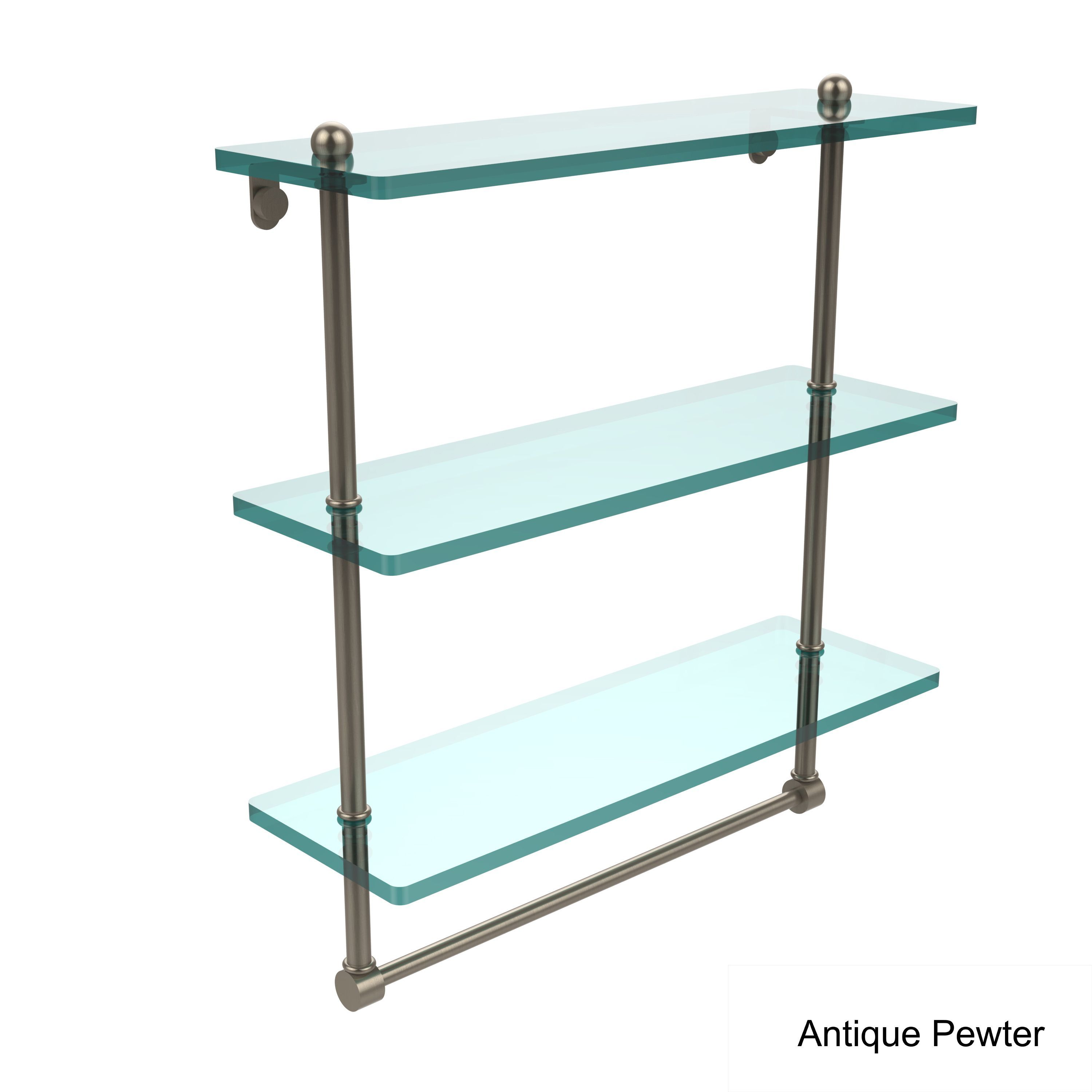 Allied 16-inch 3-tiered Glass Shelf with Integrated Towel Bar