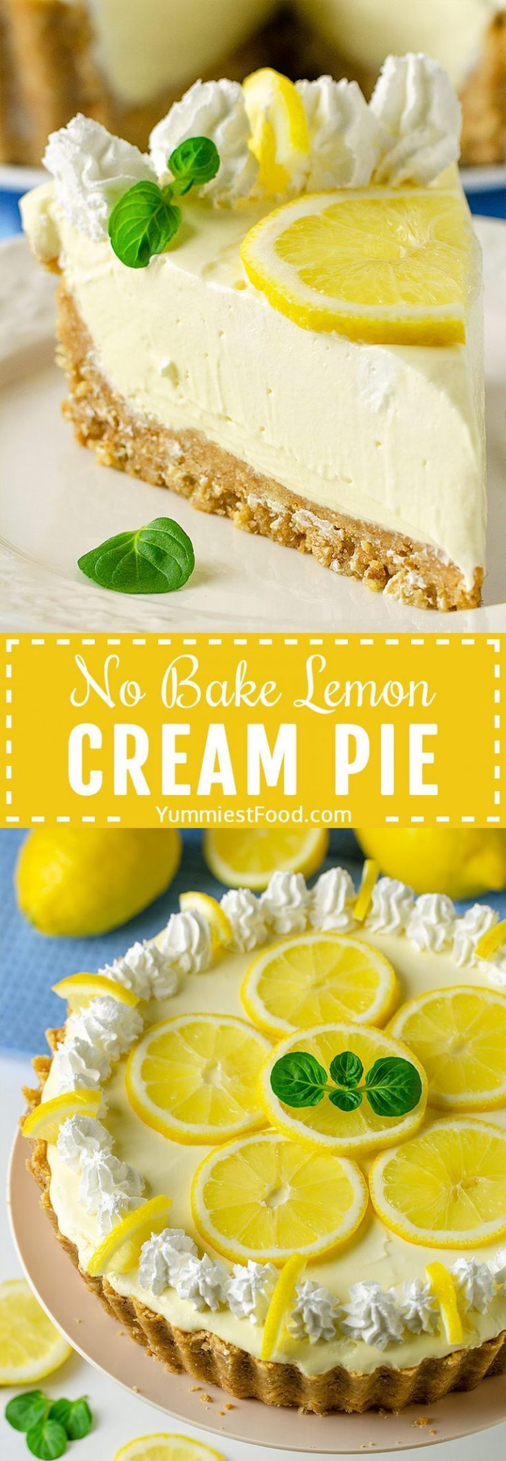 No Bake Lemon Cream Pie #easypierecipes