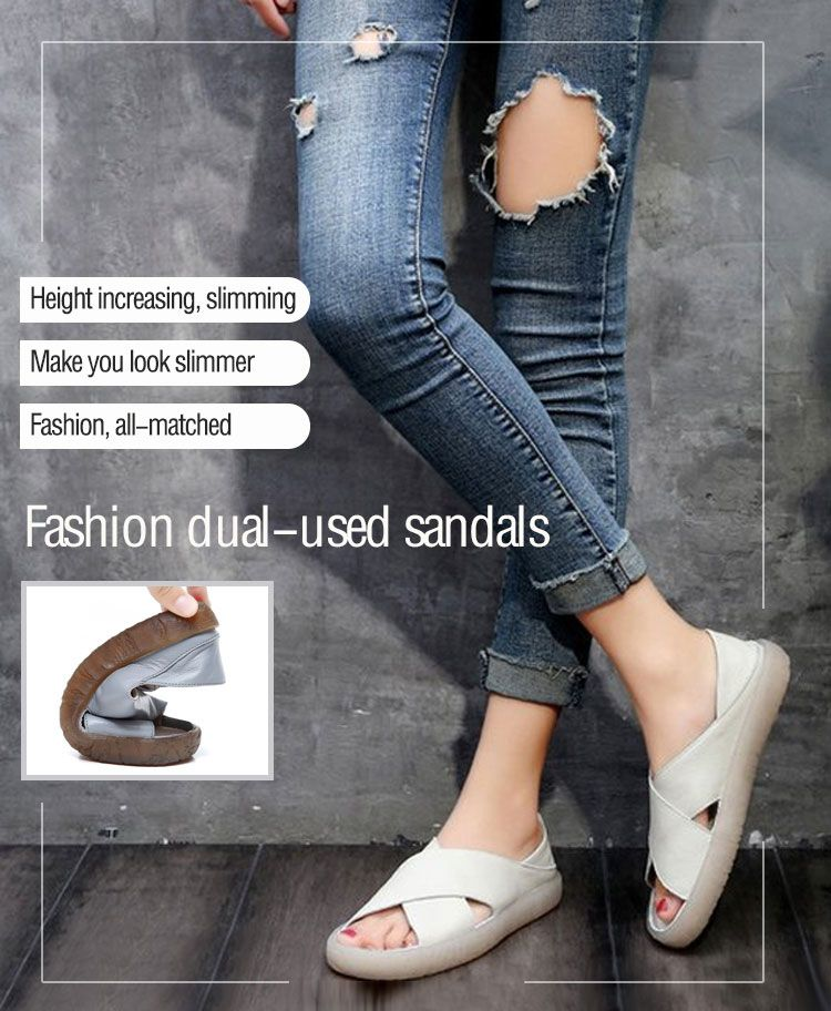 26a3b6f8941b7 ZHIFAN Mori Girl Style Leather Hand-made Anti-skidding Dual-used Sandals