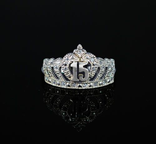 10k Solid White Gold Size 6 8 Sweet 15 Birthday
