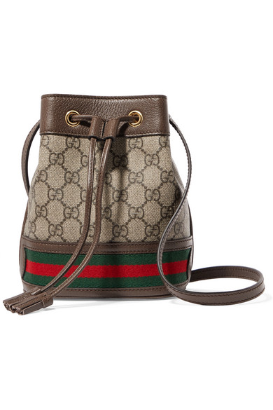 02e1ec51f Gucci - Ophidia Mini Textured Leather-trimmed Printed Coated-canvas Bucket  Bag - Brown