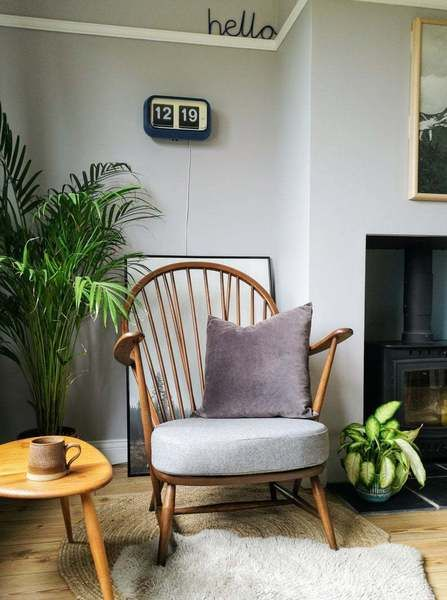 Rare Vintage Ercol 317 Grandfather Armchair With New Grey Upholstery Pair Available   Ercol   Vinterior