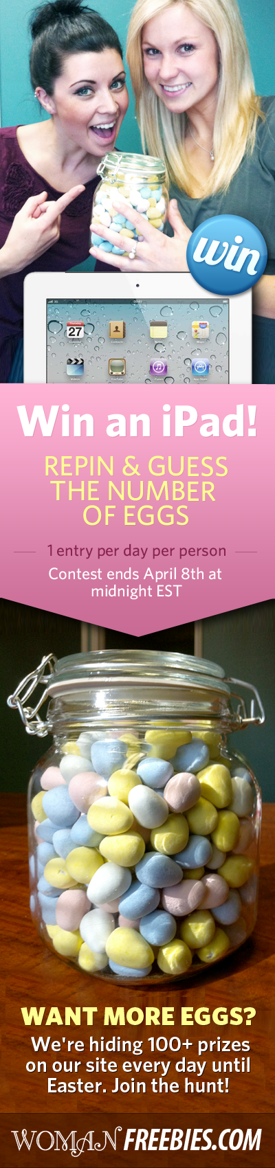 Join the Hunt! We're hiding 100+ prizes on WomanFreebies.com every day until Easter.  We'd love it if you could share this with your friends on Facebook :)    All correct guesses will be entered into a draw to win a 3rd generation iPad on April 9th. Make sure you're following us so we can contact you if you win! #sweepstakes #ipad #easter