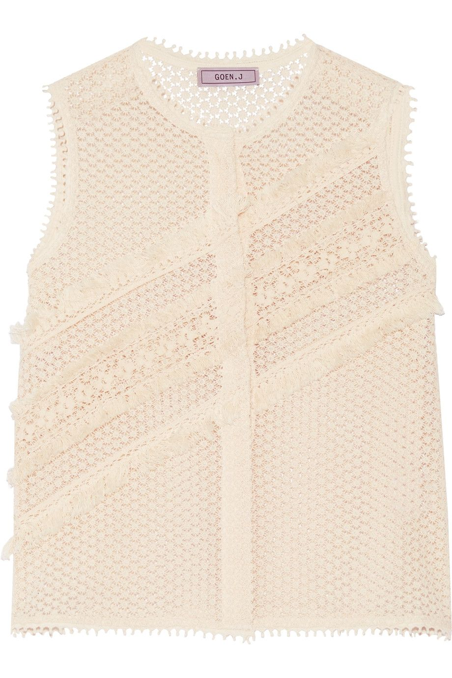 Goen J Fringed broderie anglaise cotton top