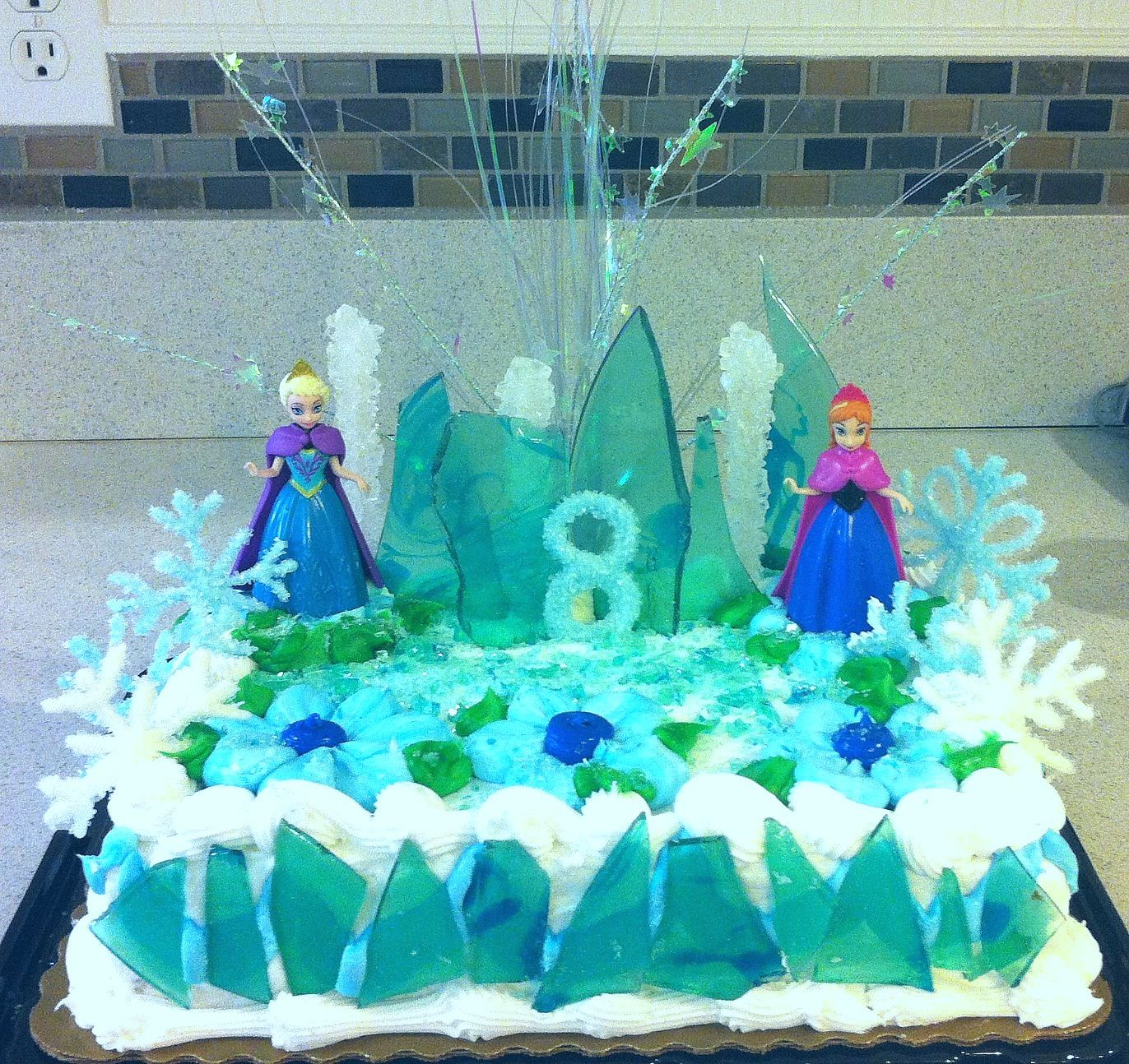 disney frozen cake edible snowflakes number and broken ice on frozen birthday cake edible image