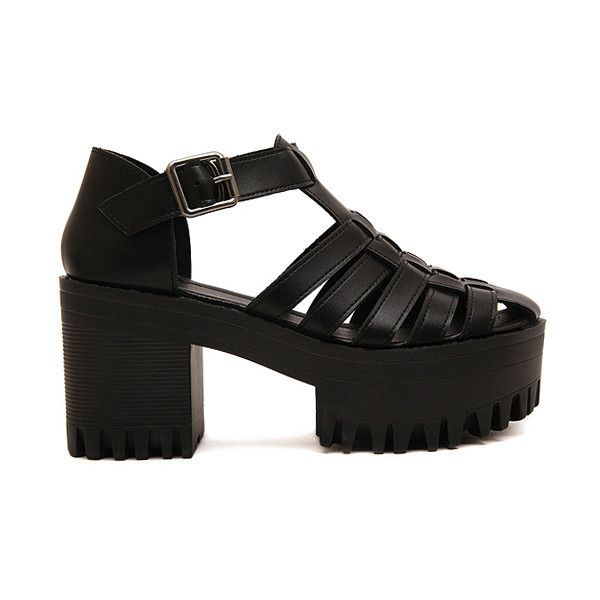 a80349e1d79 Closed Toe Weaving Platform Sandals (2.280 RUB) ❤ liked on Polyvore  featuring shoes