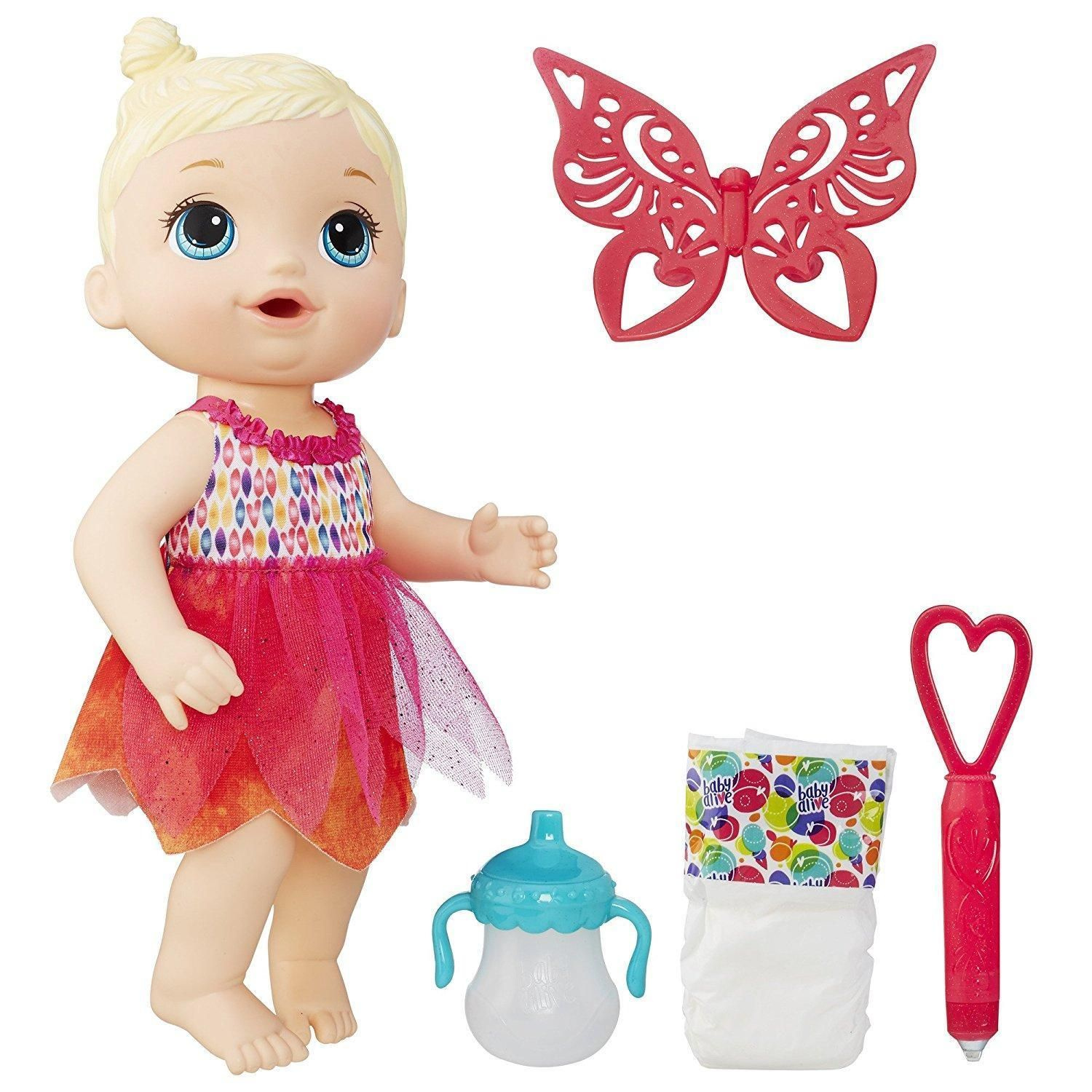 Baby Alive Face Paint Fairy Blonde Doll with Bottle Wand Wings
