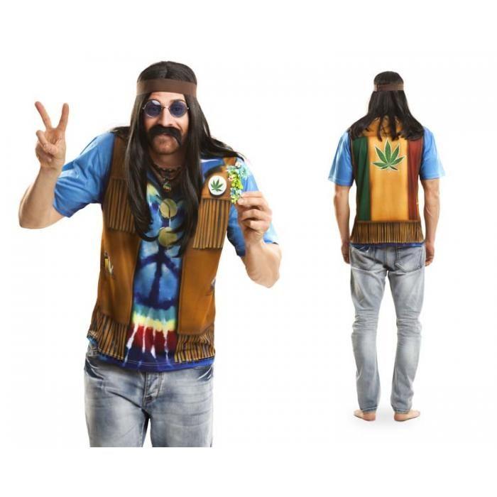 Hippie Kostum T Shirt Flower Power Herrenshirt Schnell Verkleidet