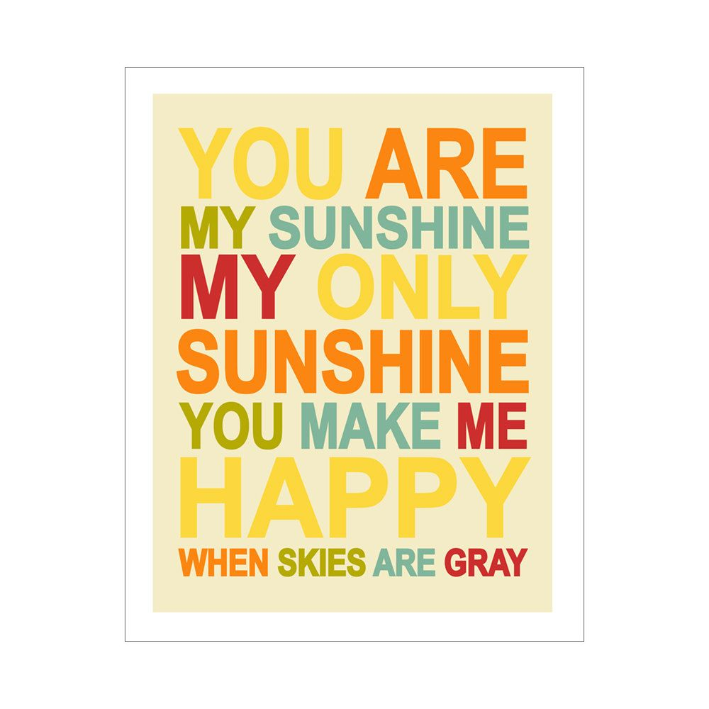 Childrens Wall Art / Nursery Decor You Are My Sunshine... 8x10 inch ...