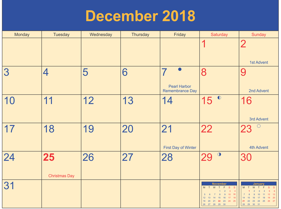 december 2018 calendar holidays printable