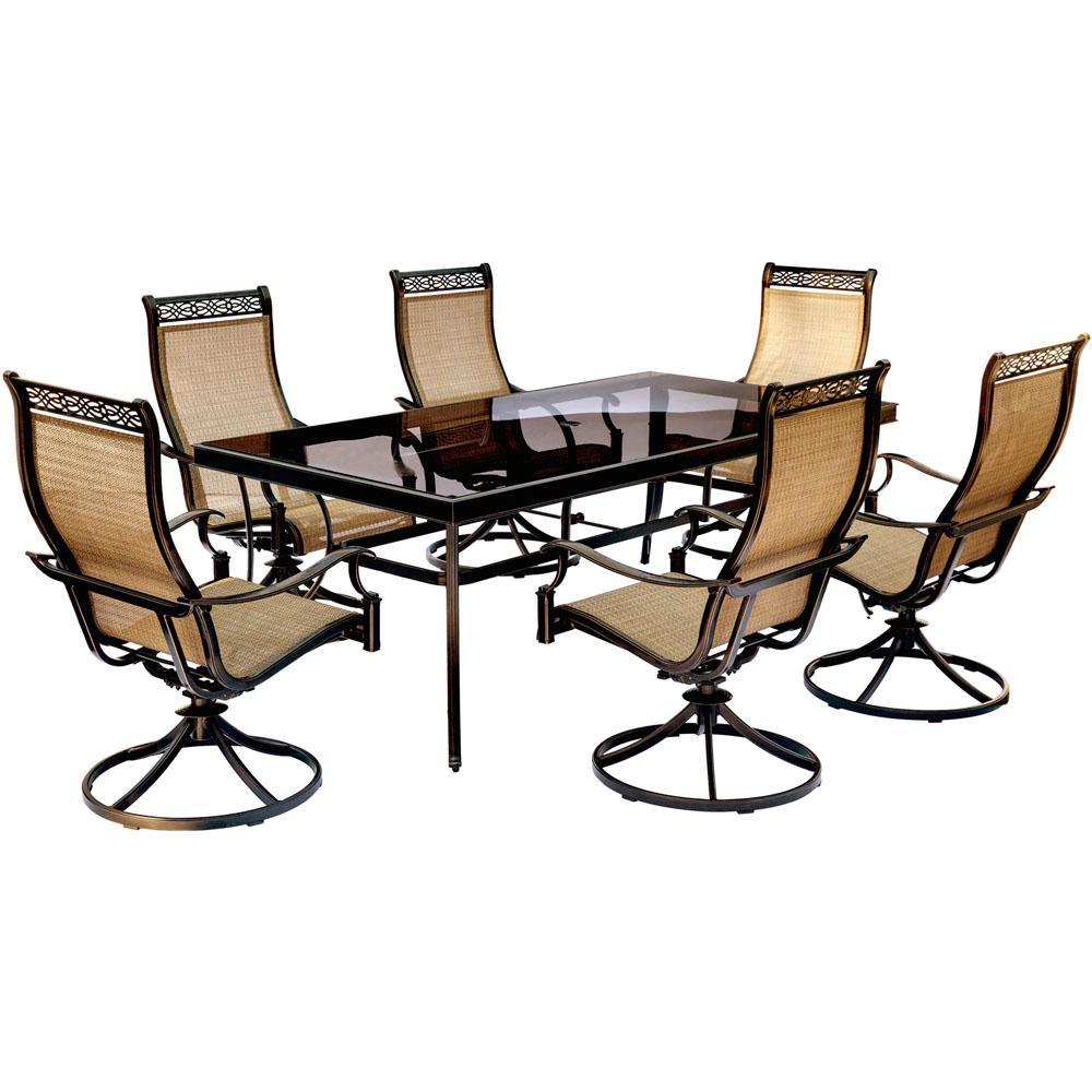 hanover monaco 7 piece aluminum outdoor dining set with rectangular rh pinterest com