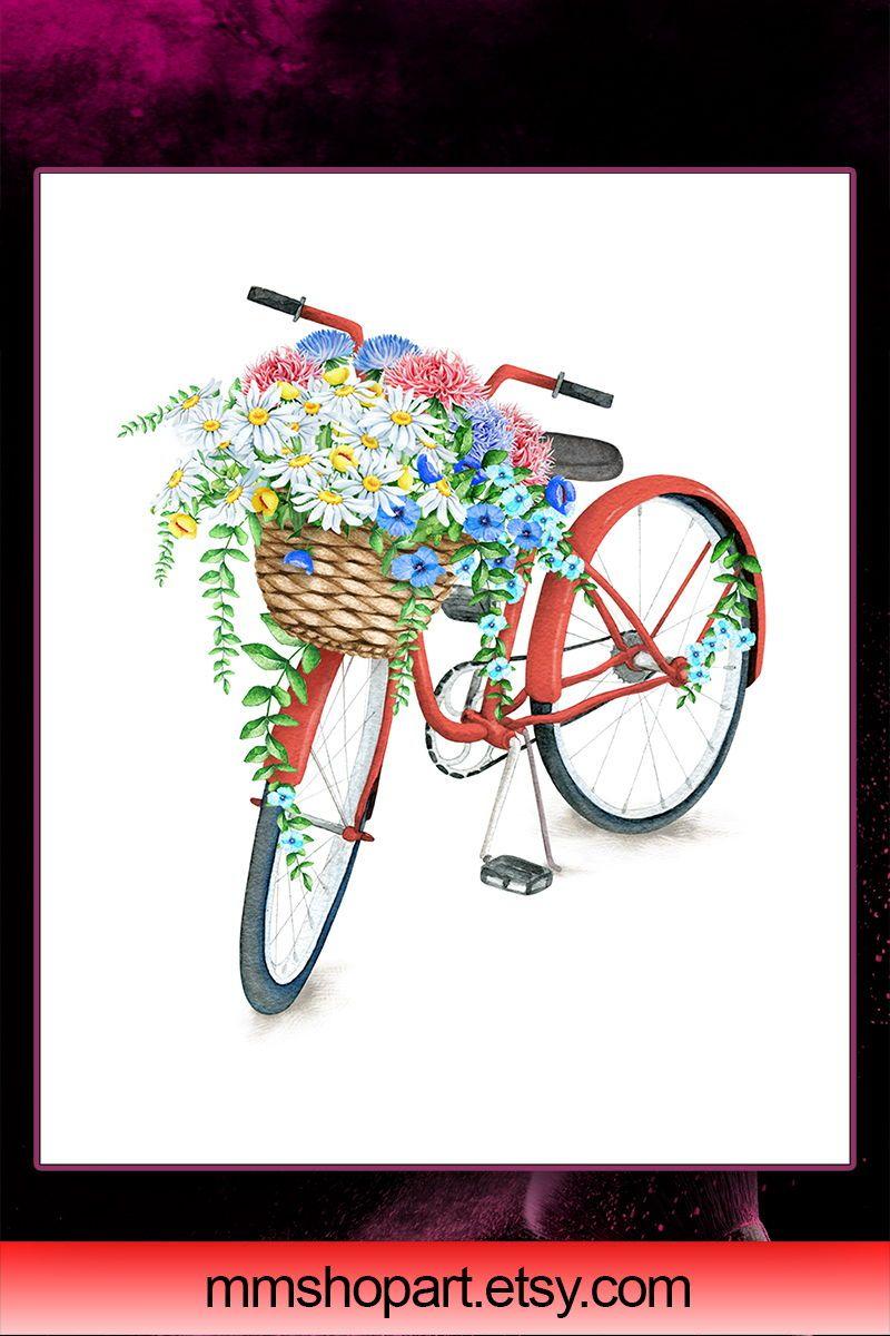 Bicycle printablebicycle with flower basketbike print