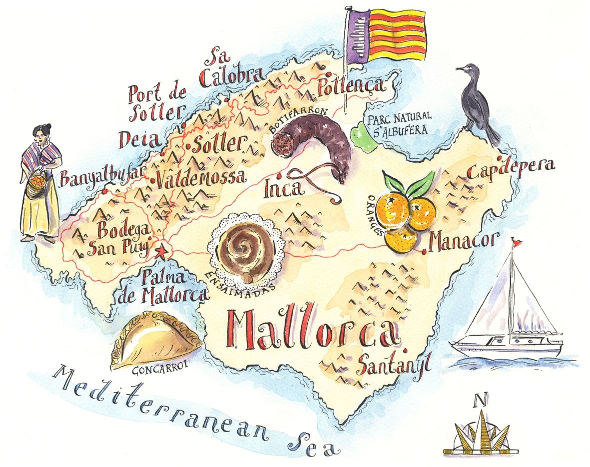 Mallorca Illustrated Map Mappery Illustrierte Karten Mallorca