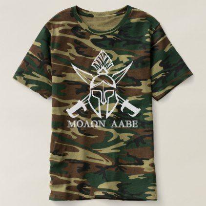 camo spartan warrior molon labe t shirt cyo diy customize unique design gift idea - Cheer Shirt Design Ideas