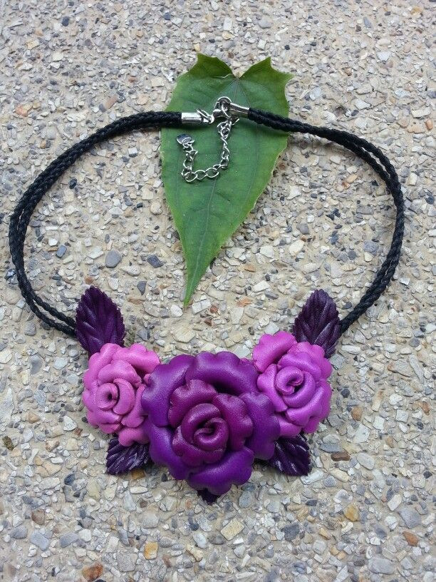 Leather flower neckace.